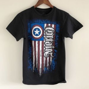 Marvel x Red Chapter Captain America Black Tee S